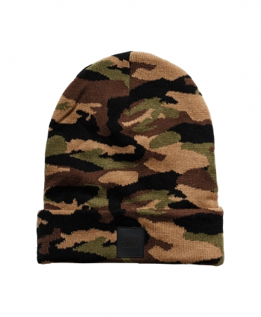 BEANIE CAMO BROWN LEATHER BLACK