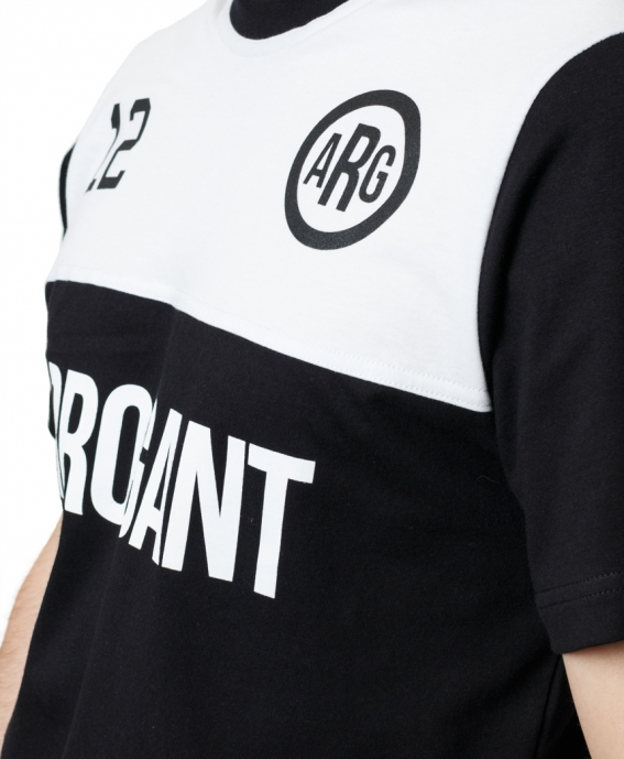 TEE PANEL CHEST WHITE BLACK