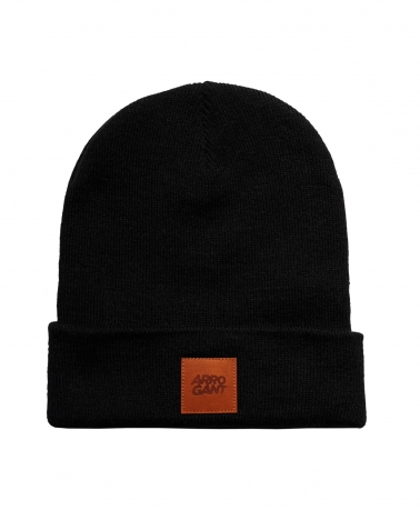 BEANIE BLACK LEATHER CAMEL