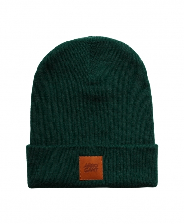 BEANIE BOTTLE GREEN LEATHER CAMEL