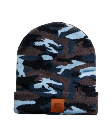 BEANIE CAMO BLUE LEATHER CAMEL