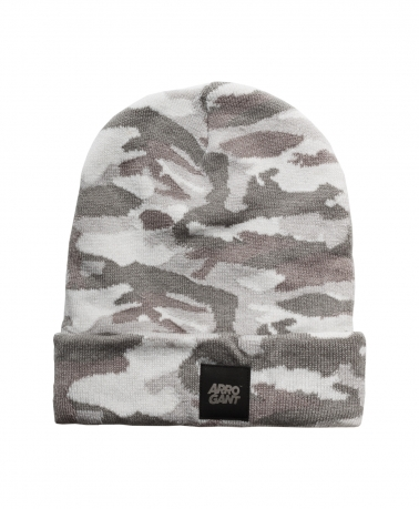 BEANIE CAMO WHITE LEATHER BLACK