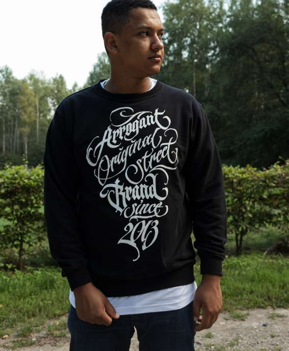 CREW LOOP WLK CALLIGRAPHY BLACK WHITE